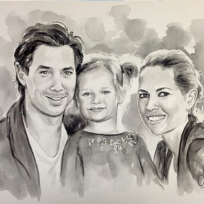 aquarelschilderij familieportret