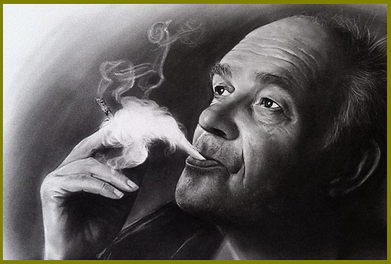 portrettekening rokende man