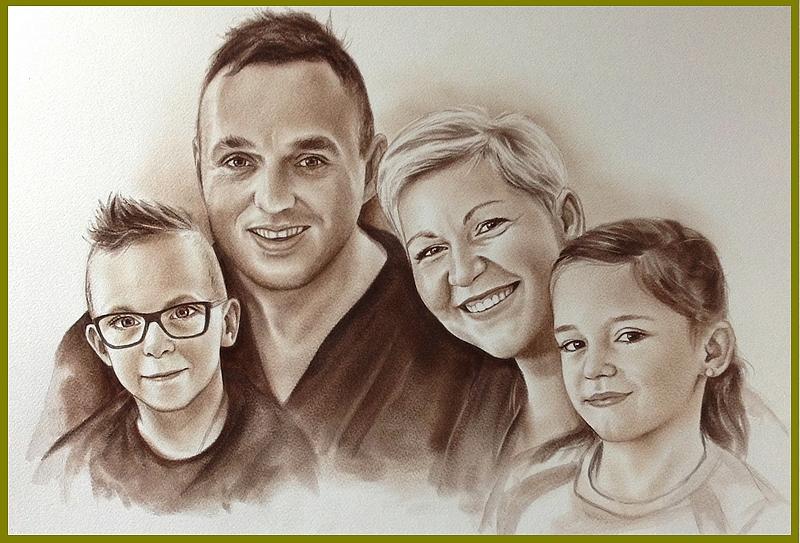tekening sepia gezin