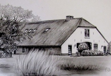 pentekening huis sepia