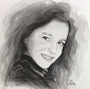 aquarel op doek meisje