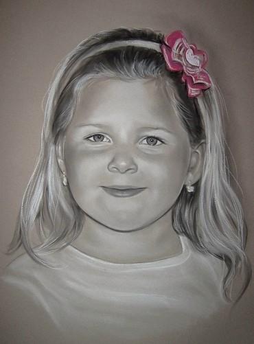 portrettekening met kleuraccent