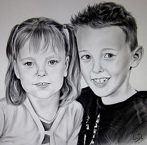 portrettekening broer en zus