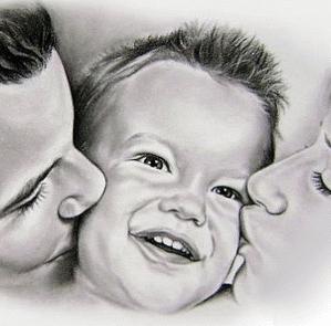 tekening kussend