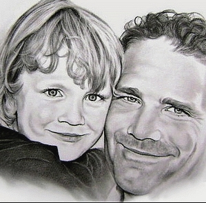 portrettekening vader en zoon