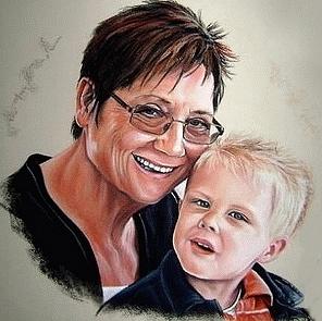 tekening oma en kind