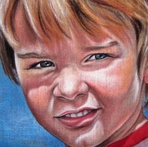 groot schilderij kinderportret