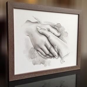 aquarelschilderij hand